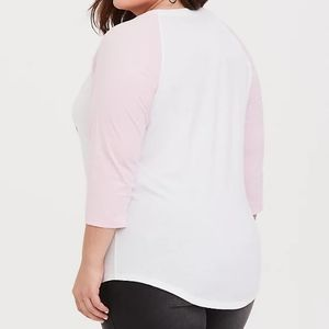 torrid Tops - Breast Cancer Awareness Pink & White Raglan Tee